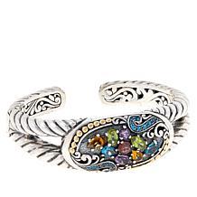 Bali Designs Sterling Silver and 18K Multi-Gemstone Cluster Cuff