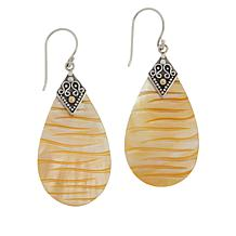 Bali Designs Sterling Silver Mother-of-Pearl Carved Pear Drop Earrings