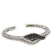 Bali Designs Sterling Silver Pavé Gemstone Rope Pattern Cuff