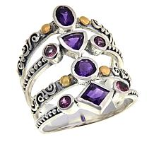 Bali Designs Sterling Silver Two-Tone Multi-Band Multi-Gemstone Ring