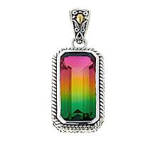 Bali Designs Watermelon Quartz Triplet Rectangular 2-Tone Pendant
