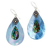 Bali RoManse Mother-of-Pearl and Abalone Pear Drop Earrings