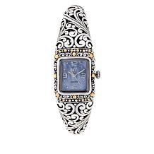 "Bali RoManse ""Sanga"" 18K Gold Accent Mother-of-Pearl Dial Cuff Watch"