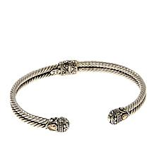Bali RoManse Sterling Silver and 18K Accent 2-Row Cable Cuff