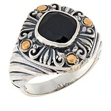 Bali RoManse Sterling Silver and 18K Gem Scrollwork Ring