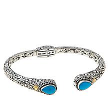 Bali RoManse Sterling Silver and 18K Sleeping Beauty Turquoise Cuff