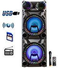 """beFree 12"""" Portable Bluetooth Double Speaker System w/Reactive LEDs"""