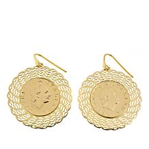 Bellezza 200 Lira-Coin Bronze Fan Drop Earrings