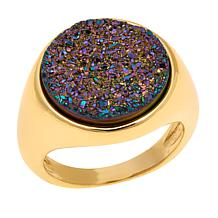 "Bellezza ""Via Latte"" Multicolor Drusy Solitaire Ring"