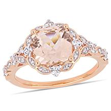 Bellini 14K Rose Gold Morganite, Diamond & White Sapphire Vintage Ring