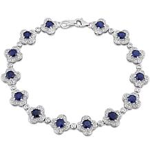 Bellini 14K White Gold Blue Sapphire and Diamond Flower Bracelet