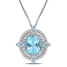 Bellini 14K White Gold  Sky Blue Topaz and Diamond Double Halo Pendant