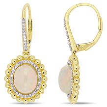 Bellini 14K Yellow Gold Diamond and Ethiopian Opal Leverback Earrings