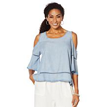 Billy T Summer Blues Cold-Shoulder Ruffle-Sleeve Top