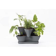 Bloem Collins Modular 2-Tier Vertical Herb Planter Charcoal Gray
