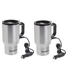 Brookstone Stainless Steel Heated Car Mugs
