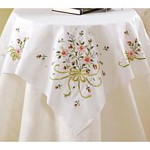 Bucilla Stamped Cross Stitch Table Topper - Bridal Bouquet