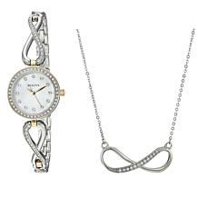 Bulova Infinity-Design Crystal Watch and Necklace