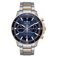 "Bulova ""Marine Star"" Two-Tone Men's Blue Dial  Chronograph Watch"