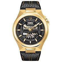 Bulova Men's Black/Gold-Tone Automatic Black Leather Strap Watch