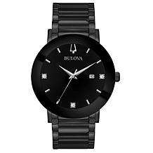 "Bulova ""Modern"" Black Stainless Steel Men's Diamond Bracelet Watch"