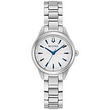 Bulova Stainless Steel Women's Blue Marker Bracelet Watch
