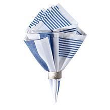 C&F Home Blue & White Cotton Reversible Napkin Set of 6