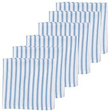 C&F Home Ticking Stripe Cornflower Cotton Napkin Set of 6
