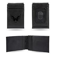 NHL Win Laser Engraved Black Front Pocket Wallet