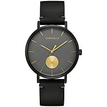 Caravelle by Bulova Men's Gray Dial Black Leather Strap Watch