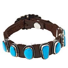 Chaco Canyon 7-Stone Kingman Turquoise Leather Bracelet