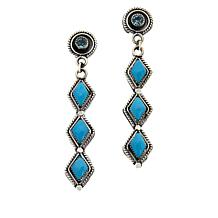 Chaco Canyon Couture Zuni Turquoise and Garnet Drop Earrings