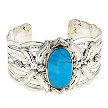 """Chaco Canyon Kingman Turquoise Quatrefoil Sterling Silver 6"""" Cuff"""
