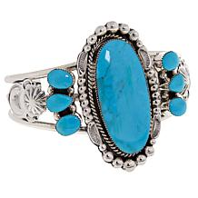 Chaco Canyon Kingman Turquoise Sterling Silver Statement Cuff Bracelet