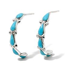 Chaco Canyon Southwest Zuni Turquoise J-Hoop Earrings