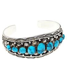 Chaco Canyon Sterling Silver Kingman Turquoise 9-Stone Cuff