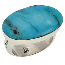 Chaco Canyon Sterling Silver Kingman Turquoise East-West Ring