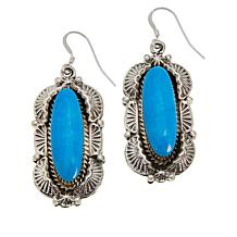 Chaco Canyon Sterling Silver Navajo Kingman Turquoise Drop Earrings