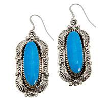 Chaco Canyon Sterling Silver Navajo Kingman Turquoise Drop Earrings