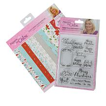 """Chloe Christmas Stamps with Luxury Foiled 8"""" x 8"""" Paper Pad"""