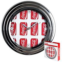 """Coca-Cola 11-3/4"""" Clock with Chrome Finish - Cans Style"""