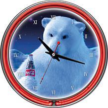 Coca-Cola Neon Clock - Polar Bear with Coca-Cola Bottle