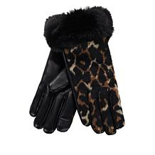 Collection 18 Faux Fur Cuff Leopard Glove with Tech Touch