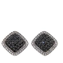 Colleen Lopez 1.31ctw Black Spinel & White Zircon Square Stud Earrings