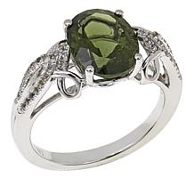 Colleen Lopez 2.32ctw Oval Moldavite and White Topaz Ring