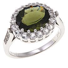 Colleen Lopez 7.17ctw Moldavite and White Topaz Ring