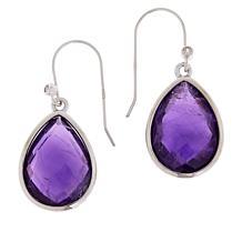 Colleen Lopez Checkerboard-Cut Pear Shape Gemstone Drop Earrings