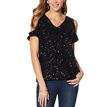 Colleen Lopez Cold-Shoulder Sequin Blouse