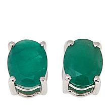 Colleen Lopez Oval Precious Gemstone Sterling Silver Stud Earrings