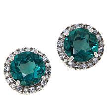 Colleen Lopez Peacock Fluorite and White Zircon Stud Earrings
